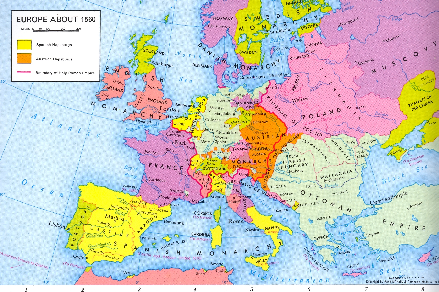 Map Of Europe 1560.Class Documents